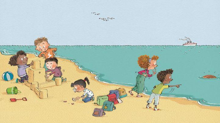 Una imagen de cuento 'Lola y la tortuga' sobre el cuidado del medioambiente