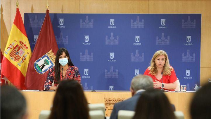 La vicealcaldesa de Madrid, Begoña Villacís, y la portavoz municipal, Inmaculada Sanz en la rueda de prensa posterior a la Junta de Gobierno.