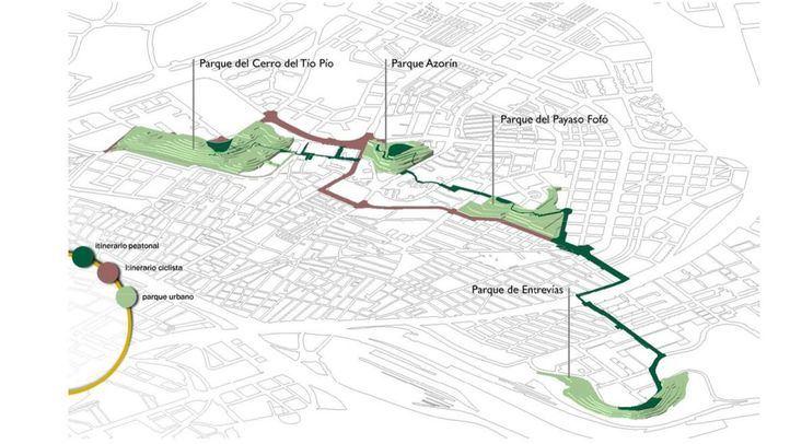 Itinerario peatonal que conectará cuatro miradores de Puente de Vallecas.