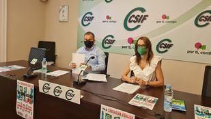 El presidente de Educación de CSIF, Mario Gutiérrez, y la secretaria de Negociación, Isqaabel Madruga, durante una rueda de prensa en la que han anunciado una manifestación frente al Ministerio de Educación para exigir que se mantengan los refuerzos de docentes por Covid durante el próximo curso