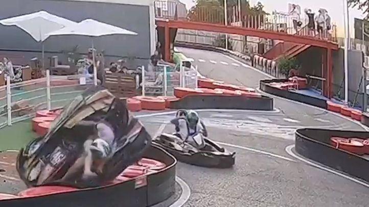 Un kart sale despedido en el circuito de Rivas-Vaciamadrid