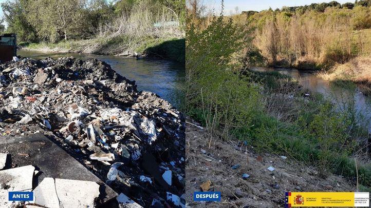 Retiradas en seis meses más de 4.700 toneladas de residuos del cauce del Guadarrama