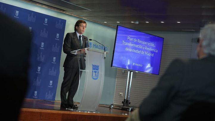 José Luis Martínez-Almeida en la presentación del Plan Municipal de Recuperación, Transformación y Resiliencia.