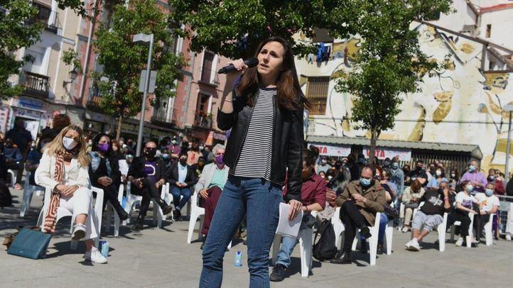 Ione Belarra, ministra de Asuntos Sociales, durante un acto de campaña de Unidas Podemos
