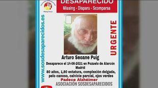 Cartel del desaparecido Arturo Seoane Puig en Pozuelo de Alarcón