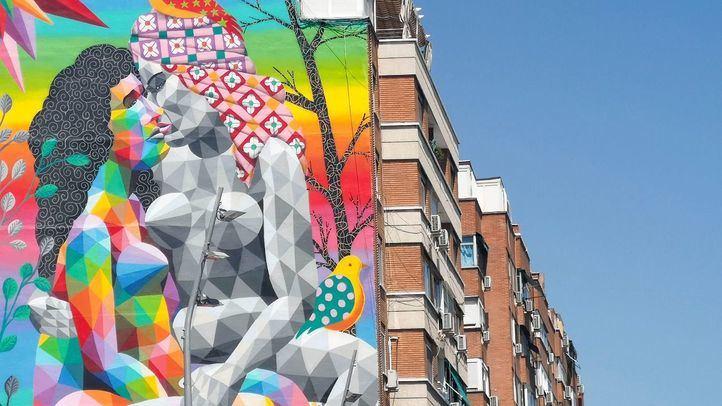 Nuevo mural de Okuda en Madrid Río