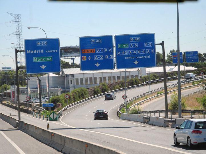 Obras en la M-40 creciente: se reducen los carriles a la altura de los túneles del Pardo