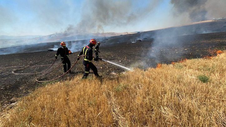 Incendio de pastos en la Cañada Real y Rivas-Vaciamadrid