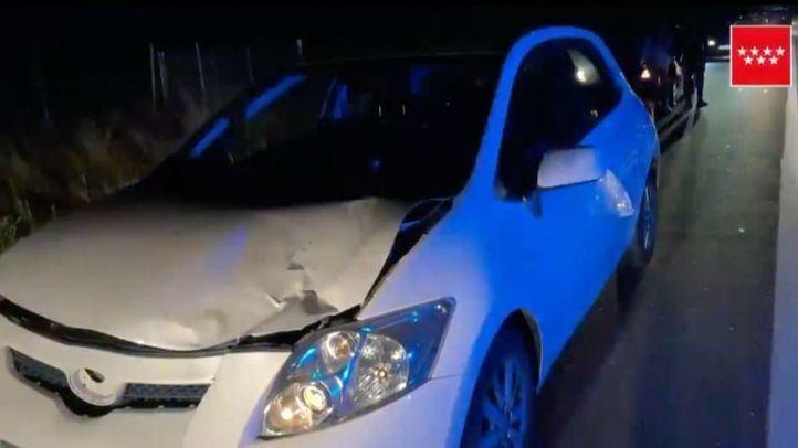 Estado en el que quedó el vehículo tras el atropello en Serranillos del Valle.