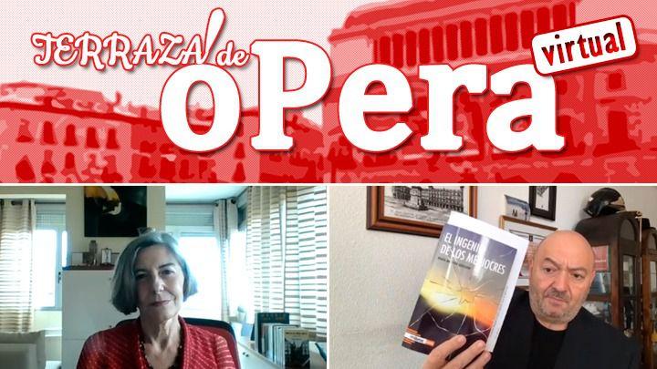 La escritora y periodista María Antonia Quesada, durante la Terraza de Ópera con el presidente editor de Madridiario, Constantino Mediavilla
