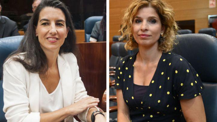 Rocío Monasterio, portavoz de Vox y Hana Jalloul, portavoz socialista en la Asamblea de Madrid