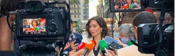 Isabel Díaz Ayuso atiende a los medios tras participar en una reunión con fondos de inversión en Nueva York