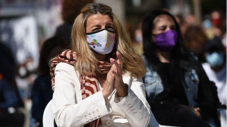 Yolanda Díaz, vicepresidenta tercera del Gobierno y ministra de Trabajo durante un acto de campaña de Unidas Podemos