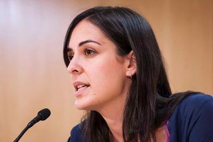 Rita Maestre en una rueda de prensa en el Ayuntamiento de Madrid.