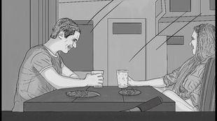 """Sentados en una mesa de un ruidoso bar de Lavapiés, el asesor del concejal al que ya conocimos y una joven pizpireta, risueña y energética, con cara y media melena de """"kale borroka"""", no muy alta, de formas generosas y bien proporcionadas, compartían cervezas y un plato de boquerones y patatas fritas."""