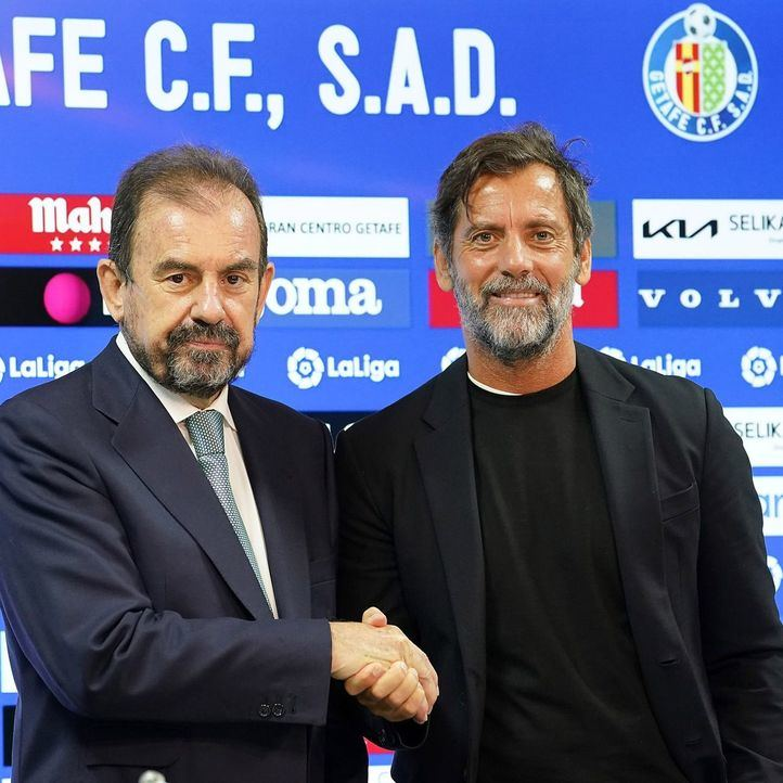 Quique Sánchez Flores con el presidente del Getafe, Ángel Torres