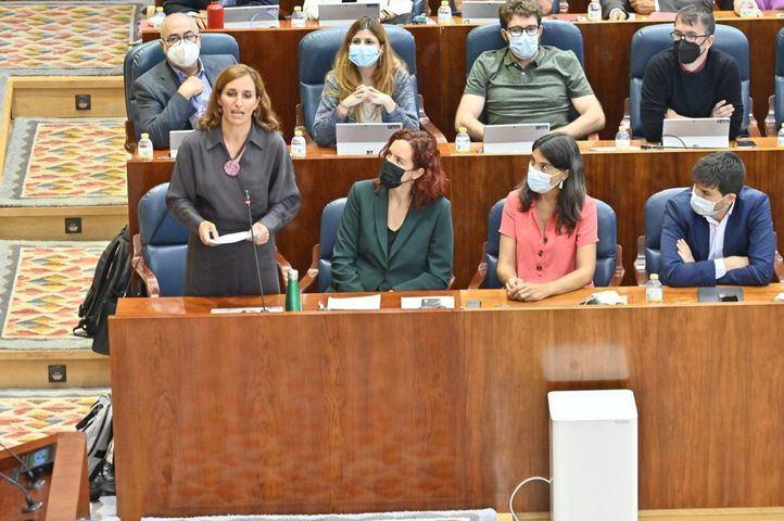 Mónica García, de Más Madrid, en el Pleno de la Asamblea de Madrid