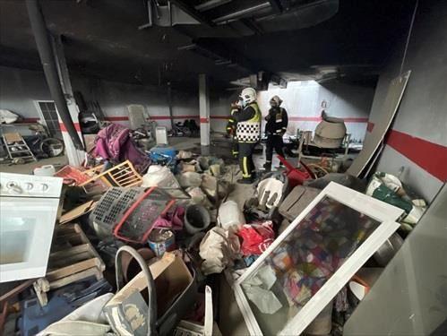 Incendio en un garaje de Leganés