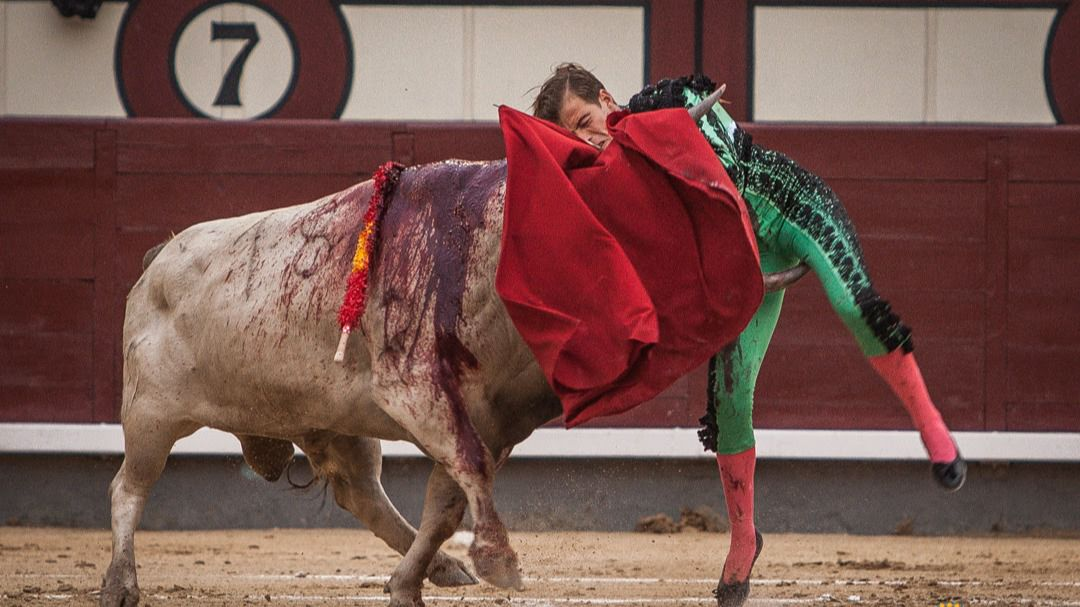 Momento del percance de Javier Cortés en el quinto toro