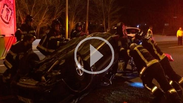 Cinco heridos, dos de ellos menores de edad, en una colisión en la A-2