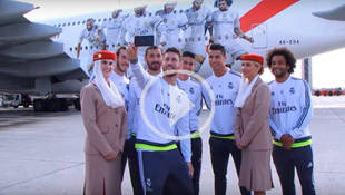 Así es el avión de Emirates, con las imágenes de los jugadores del Real Madrid