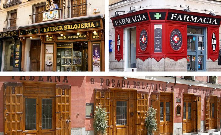Fachadas de la Antigua Relojería, Posada de la Villa y Farmacia de Lavapiés.