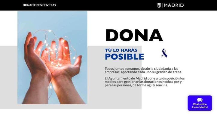 El Ayuntamiento de Madrid estrena una web para hacer donaciones en la crisis del coronavirus