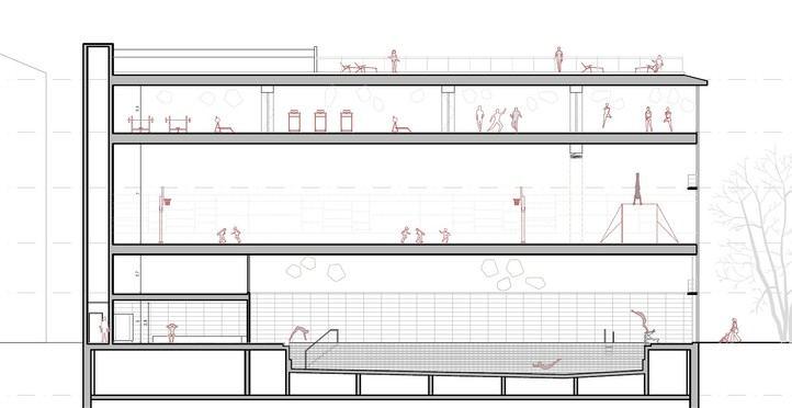 Plano del nuevo centro deportivo de Cuatro Caminos.