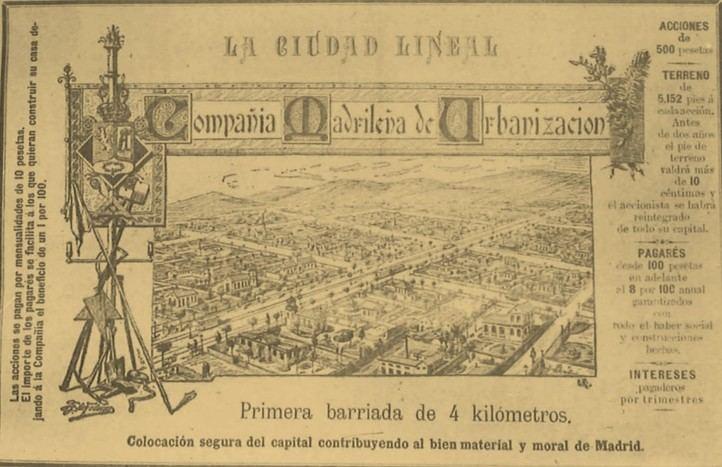 Anuncio del proyecto urbanístico de la Ciudad Lineal en 1895, publicado en el periódico 'La Dictadura' de la Compañía Madrileña de Urbanización.