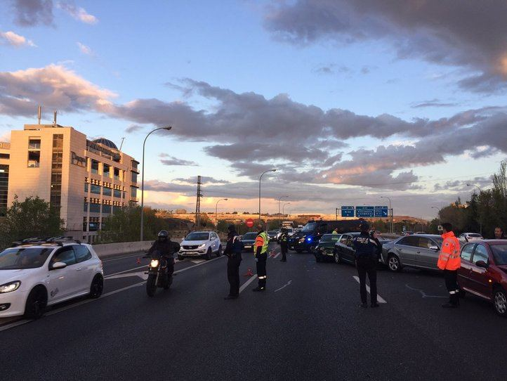 Accidente en la M-40 cerca de Villaverde.