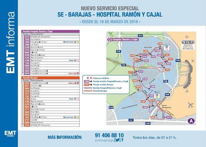 Recorrido del nuevo servicio de autobús de Barajas
