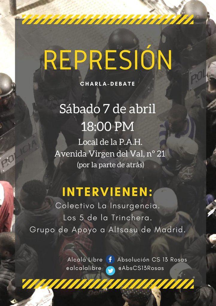 Cartel charla-debate organizado por Alcalá Libre