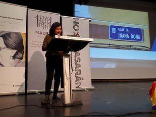 Rommy Arce, en la presentación de la calle de la activista Juana Doña.