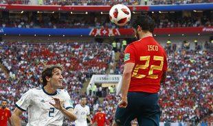 Imagen del partido entre Rusia y España.