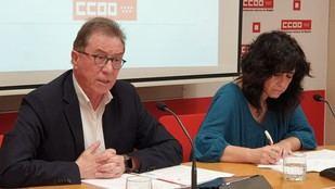 El secretario general de CC.OO. Madrid, Jaime Cedrún, y la secretaria de Política Social y Diversidad de CC.OO. Madrid, Ana González