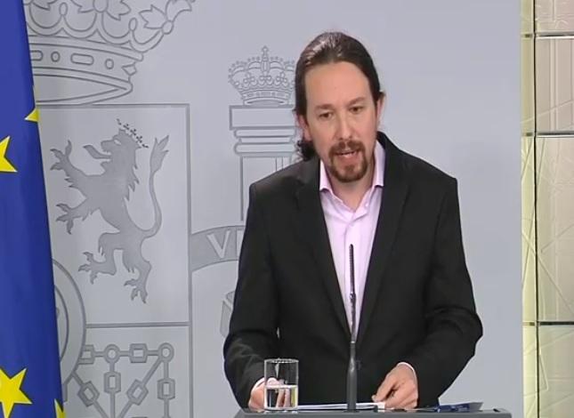 Rueda de prensa telemática del vicepresidente de Derechos Sociales y Agenda 2030, Pablo Iglesias