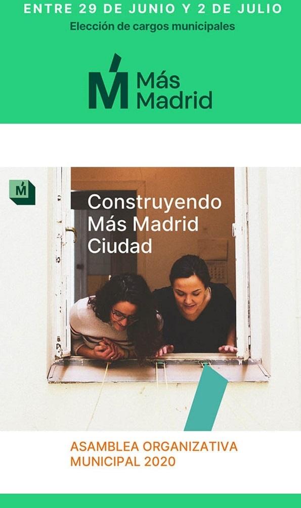 La asamblea Más Madrid ciudad se celebrará del 6 al 14 de junio