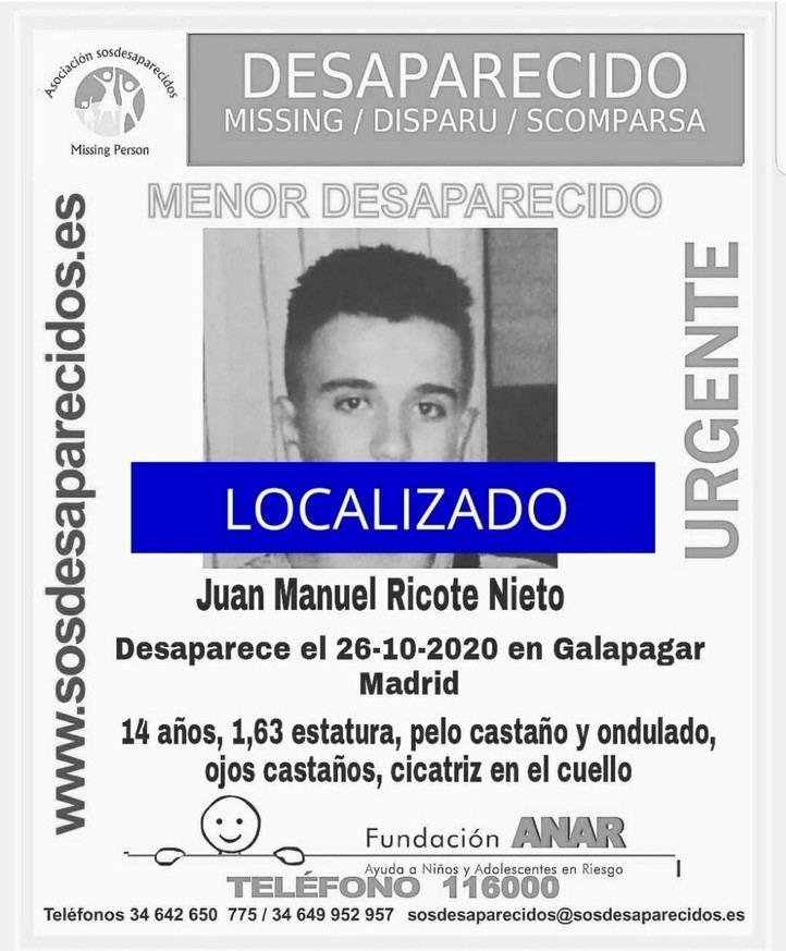 En buen estado uno de los menores desaparecidos en Galapagar