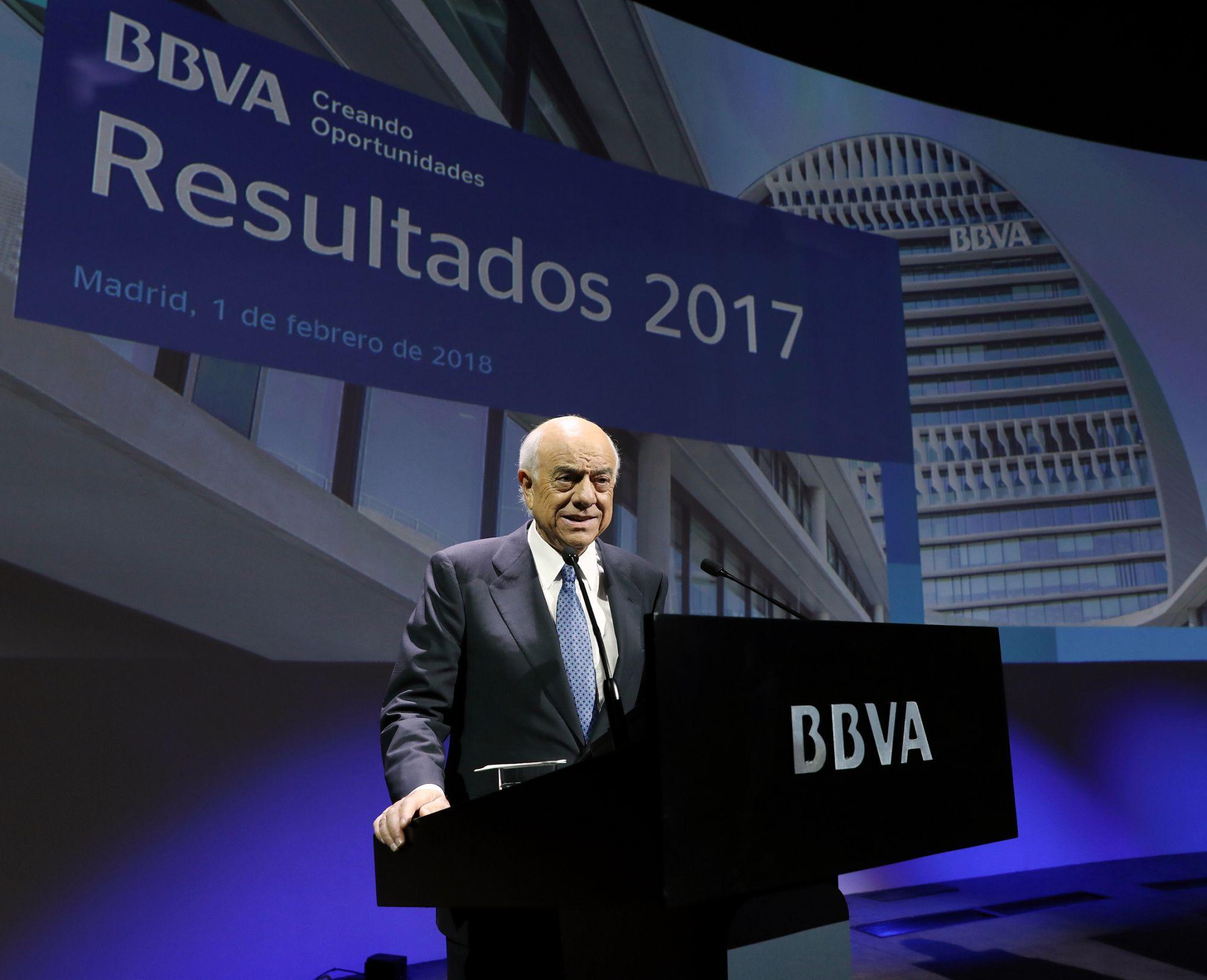BBVA aumenta un 20% su beneficio comparable en 2017, hasta €4.642 millones