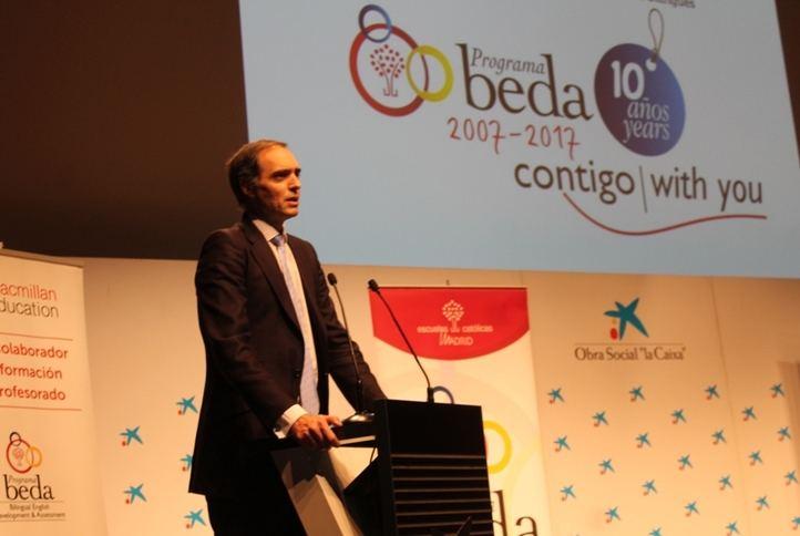 José Antonio Poveda, secretario regional de ECM, durante su intervención en el I Día del Coordinador BEDA