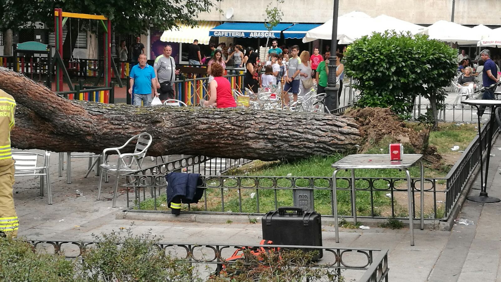 Un árbol se desploma sobre la terraza de un bar en Alcorcón