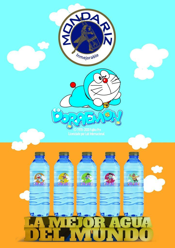 Aguas de Mondariz se viste con la imagen de Doraemon en su 50 aniversario