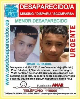 Cartel del menor desaparecido en Colmenar