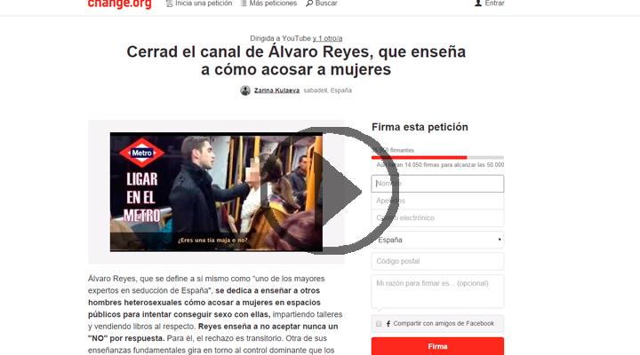 Movilización en las redes para cerrar el canal del youtuber Álvaro Reyes por apología del acoso sexual