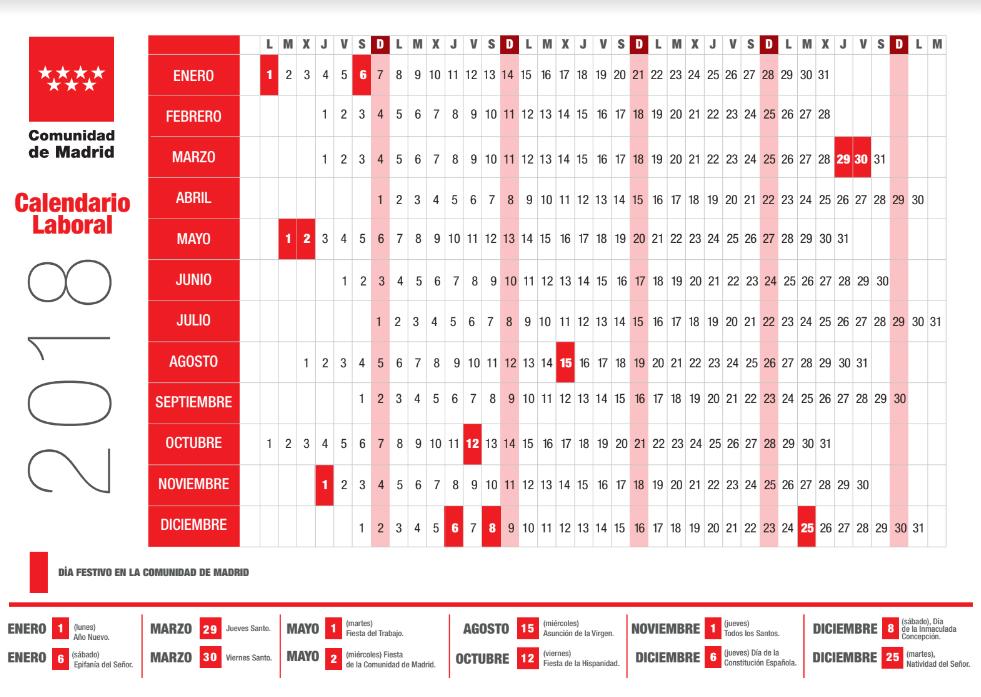 Calendario Laboral Fuenlabrada 2019.Consulta El Calendario Laboral De 2018 En Madrid Madridiario