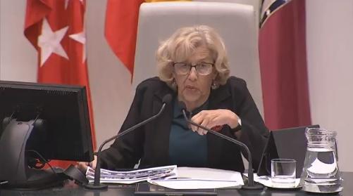 Manuela Carmena, en el Pleno de este lunes