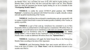 Bruselas publica el contrato con AstraZeneca