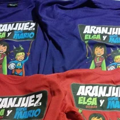 Camisetas con dibujos de los pequeños Elsa y Mario, que presentan ELA infantil, una rara y grave afección