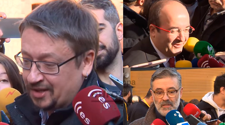 Iceta, Riera y Domènech a su salida del colegio electoral