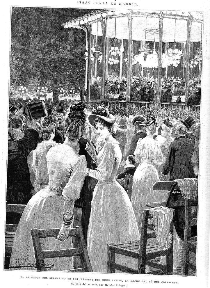 Grabado del 16 de julio de 1890, cuando Isaac Peral visitó los Jardines del Retiro.